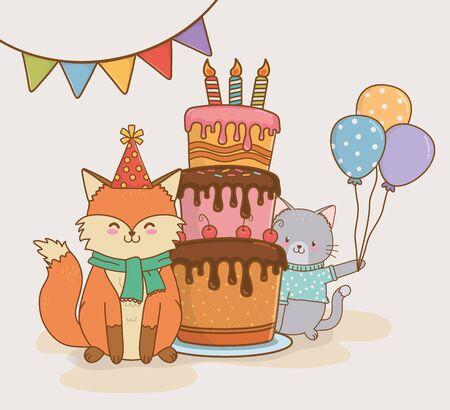 birthday card with cute animals woodland vector illustration design Ilustração