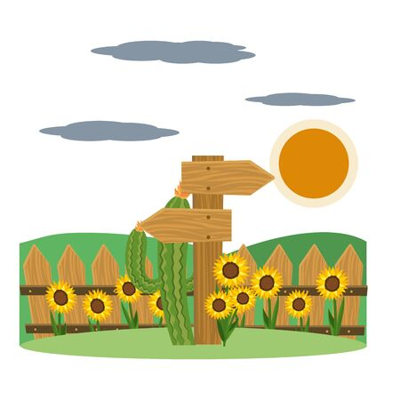 wooden sign cartoon  イラスト・ベクター素材