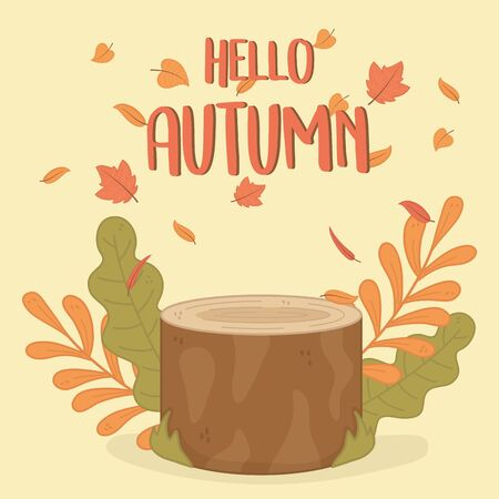 autumn season trunk and leafs vector illustration design
