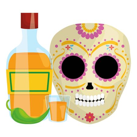 mexican skull death mask with tequila bottle vector illustration design Vector Illustration
