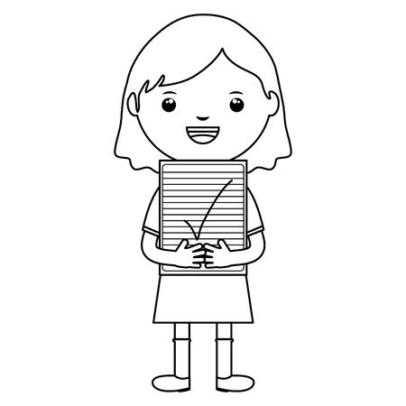 cute little student girl with exam sheet vector illustration design