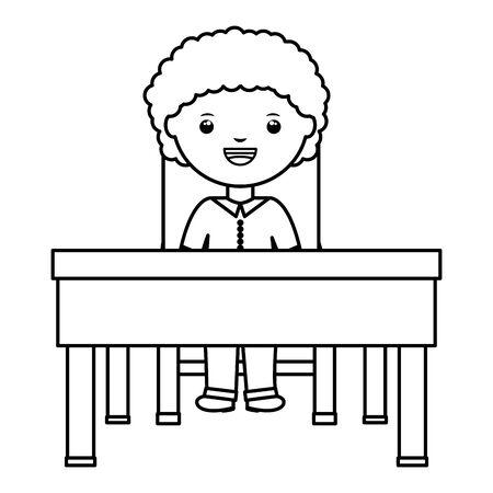 cute little student boy seated in schooldesk