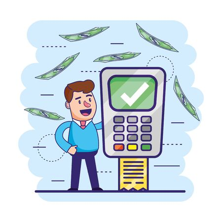 man with digital dataphone and transaction information Stock fotó - 129795649