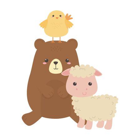 Bear chicken and goat cartoon vector design