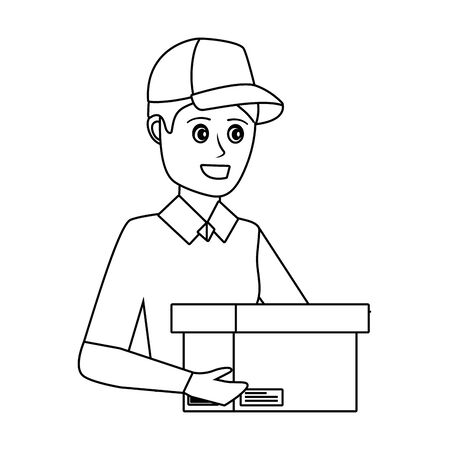 delivery service worker man cartoon Ilustrace