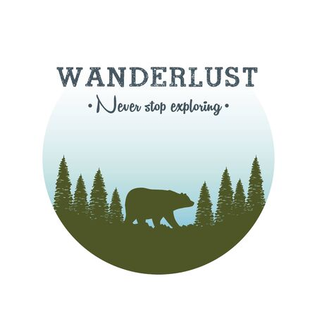 wanderlust label with landscape and bear grizzly scene Иллюстрация