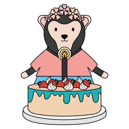 cute monkey with sweet cake in birthday party