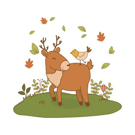 cute reindeer with bird in the field woodland characters