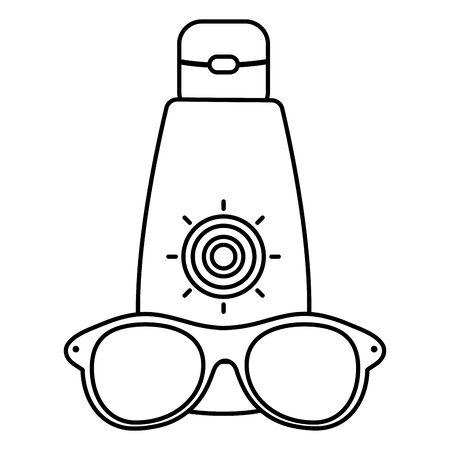 sun block bottle with sunglasses accessory