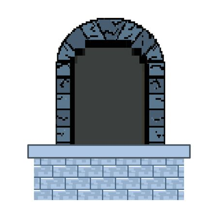 Isolated wood and medieval door  vector illustration Stock Illustratie