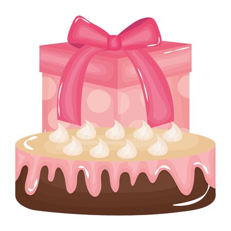 gift box present with sweet cake