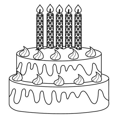 delicious sweet cake with candles Illustration