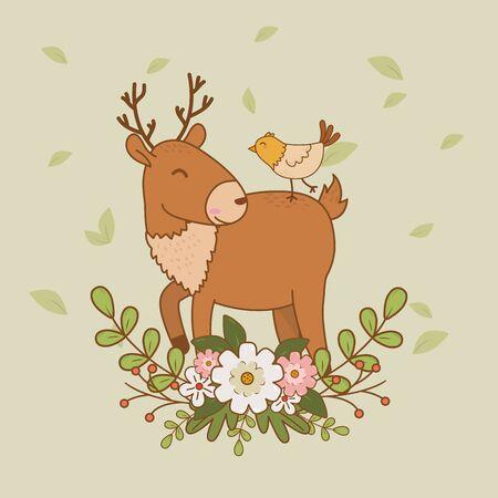 cute reindeer with bird woodland characters vector illustration design Foto de archivo - 129764317