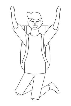 Tourist boy cartoon with bag design
