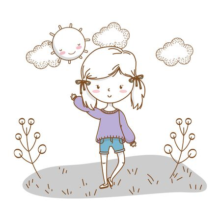 Cute girl cartoon stylish hairstyle nice outfit clothes blushing sweater and shorts waving hello nature sunny background vector illustration graphic design 일러스트