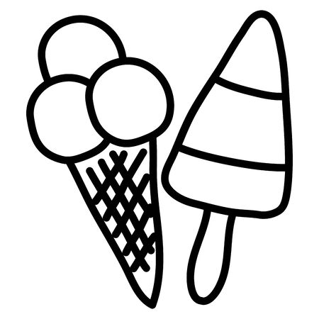 delicious ice cream in cone and stick 向量圖像