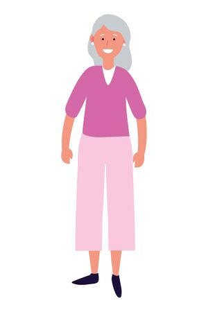 old woman avatar cartoon character isolated vector illustration graphic design Illusztráció