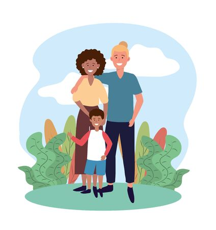 woman and man couple with their cute son vector illustration