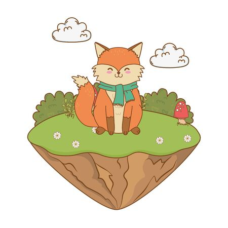 cute fox in the field woodland character vector illustration design Illustration