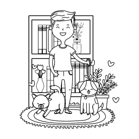 man with cat and dog avatar cartoon character black and white vector illustration graphic design Иллюстрация