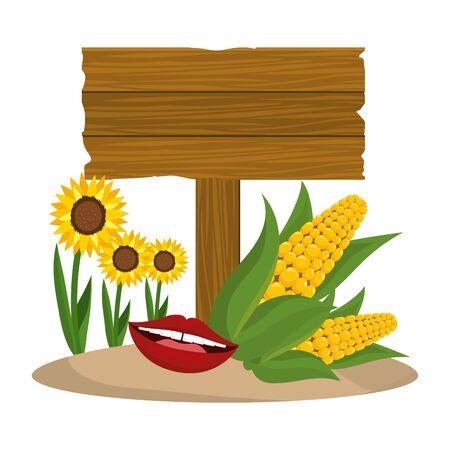 wooden sign cartoon Иллюстрация