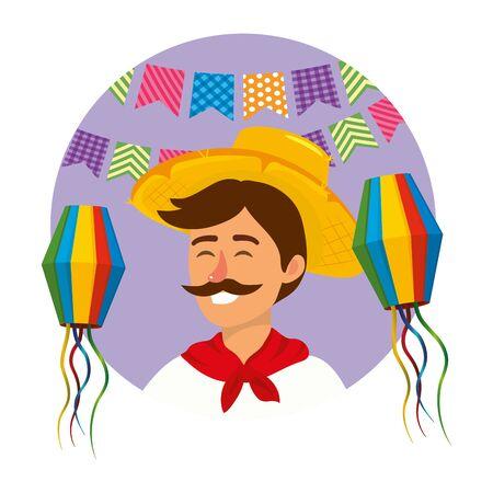 festa junina brazil party festival june celebration man with traditional elements cartoon vector illustration graphic design 일러스트
