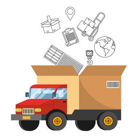 truck with a big box in the back Foto de archivo - 129817166