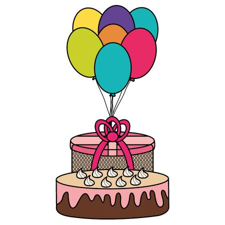 gift box with sweet cake and balloons helium floating vector illustration design Illustration