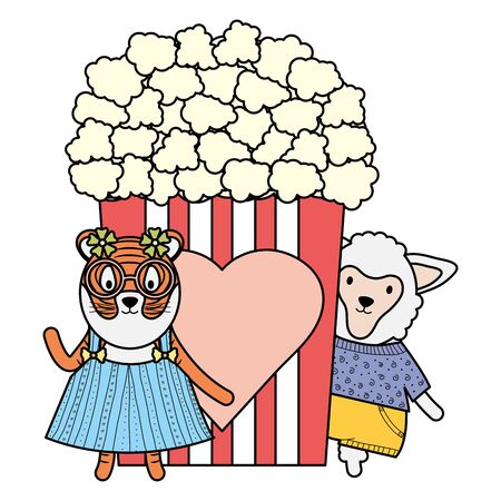 cute female tiger and sheep with pop corn vector illustration design