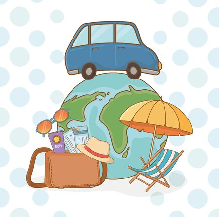 world planet with car and travel vacations items vector illustration design