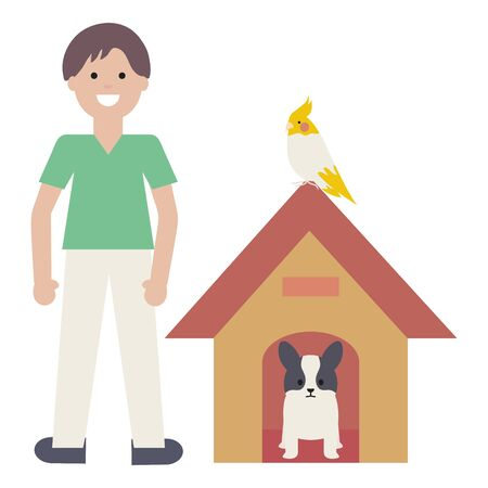 young man with dog and bird in wooden house Stockfoto - 129817179