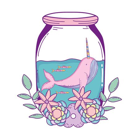 cute narval in mason jar with wreath flowers vector illustration design  イラスト・ベクター素材