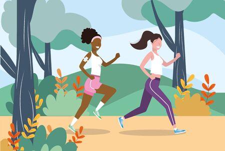 women running sport activity training vector illustration