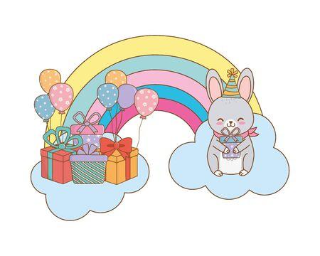 cute adorable animal rabbit birthday party scene magic festive over clouds with rainbow cartoon vector illustration graphic design 일러스트
