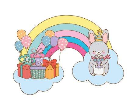 cute adorable animal rabbit birthday party scene magic festive over clouds with rainbow cartoon vector illustration graphic design Illustration