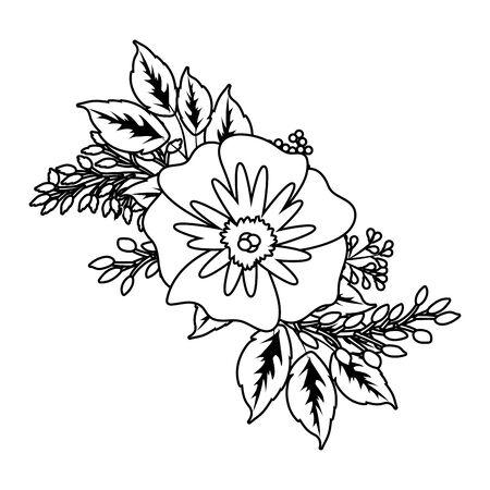 floral tropical rose flower cartoon vector illustration graphic design