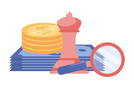 Isolated bills coins chess and lupe design vector illustration Zdjęcie Seryjne - 129817183