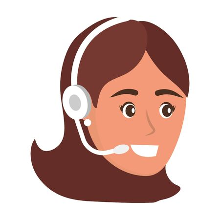 young woman face isolated cartoon