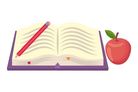 Isolated book and apple of school design vector illustration