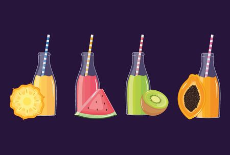 fresh and tropical juices fruits in botttles with straws vector illustration design