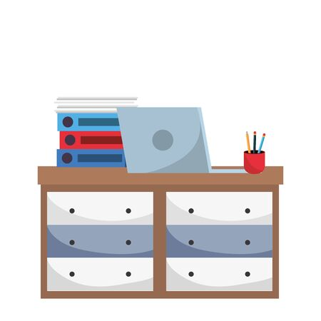 office furniture with technology laptop cartoon vector illustration graphic design