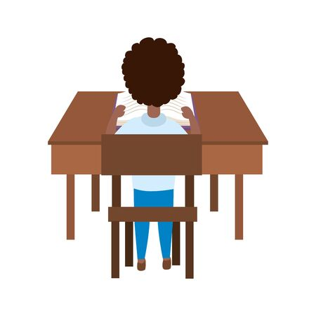 Boy kid in desk design, School education learning knowledge study and class theme Vector illustration