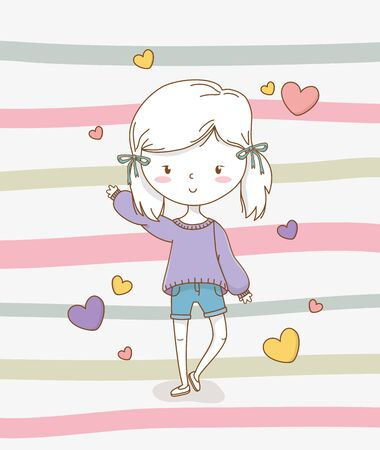 beautiful little girl with pastel colors and hearts vector illustration design