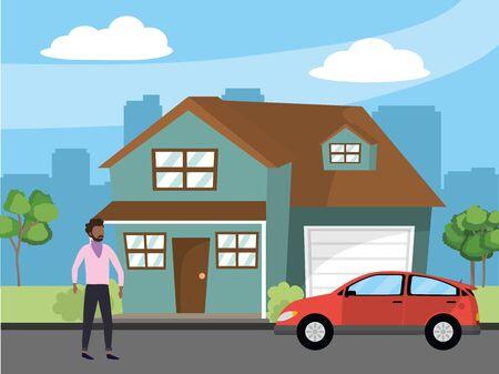 casual happy people man in front urban house home cartoon vector illustration graphic design Illusztráció