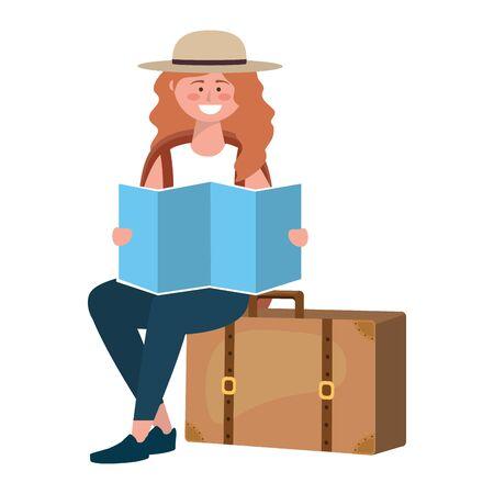 Tourist girl cartoon with bag design Illustration