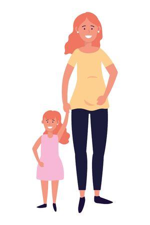 pregnant woman with child avatar cartoon character vector illustration graphic design Illusztráció