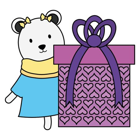 cute polar bear with gift in birthday party vector illustration design Çizim