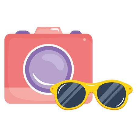 camera photographic with summer sunglasses 일러스트