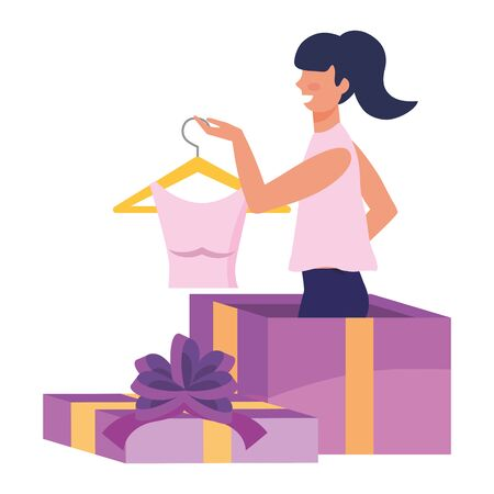 Woman and gift design, Commerce market store retail paying and buying theme Vector illustration  イラスト・ベクター素材