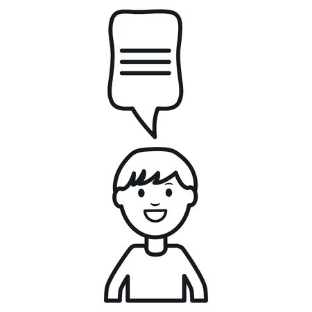 monochrome man with speech bubble avatar character vector illustration design